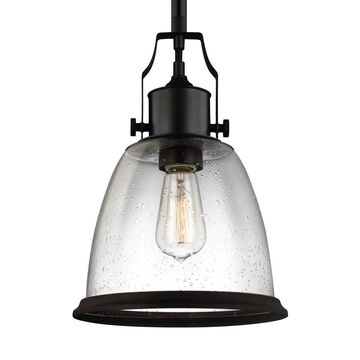 Feiss Hobson Oil Rubbed Bronze Transitional Clear Glass Lantern Medium (10-22-in) Pendant Light | P1355ORB