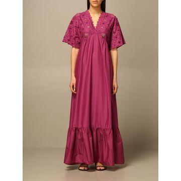 Manila Grace v-neck long dress in Sangallo