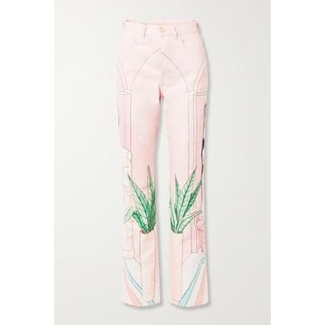 Casablanca - Chambre 602 Printed High-rise Straight-leg Jeans - Pastel pink