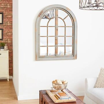 Farmhouse 48 x 37 Inch Classic Gray Arched Wall Mirror by Studio 350 - Grey