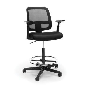 OFM Essentials Collection Mesh Back Office Chair and Stool with Adjustable Arms, in Black (E3036-BLK)