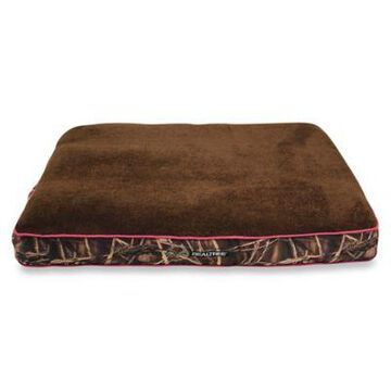 Realtree Max4 Camo Gusseted Chopped Foam Pet Bed with Pink Border/Brown Top