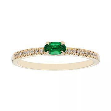 Boston Bay Diamonds 10k Gold Lab-Created Emerald & 1/10 Carat T.W. Diamond Ring, Women's, Size: 8, Green