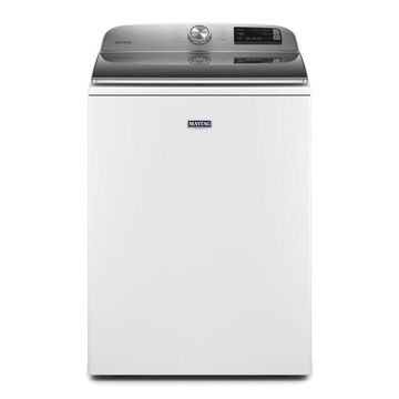 Maytag 4.7-cu ft Smart Capable High-Efficiency Top-Load Washers with Extra Power Button - White Stainless Steel