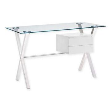 Modway Stasis Writing Desk with High Gloss White Accent Drawer