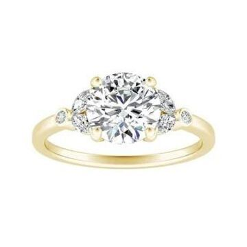 Auriya 14k Gold 1 1/2ctw Vintage Floral Moissanite and Diamond Engagement Ring 1/4ctw