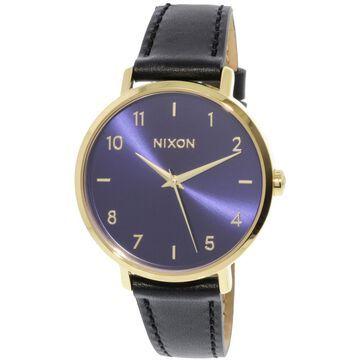 Nixon Arrow Leather A1230933 Gold Japanese Quartz Dress Watch