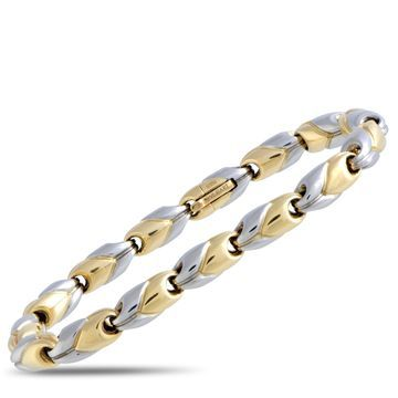 Bvlgari White and Yellow Gold Link Bracelet