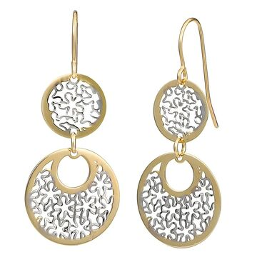 Fremada 10k Two-tone Gold Floral Cut-outs On Graduated Circles Dangle Earrings (Double two-tone dangle earrings)