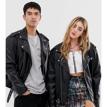 Reclaimed Vintage inspired unisex PU biker jacket-Black