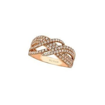 Vanilla Diamonds and 14K Strawberry Gold Wave Ring