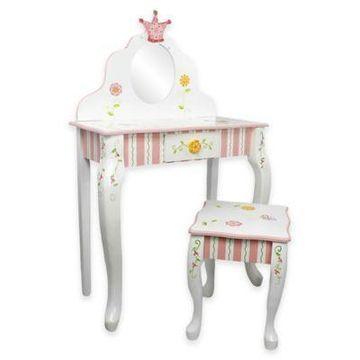 Teamson Kids Vanity Table and Stool Set in Princess and Frog