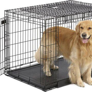 MidWest Ovation Trainer Double Door Metal Dog Crate, Black