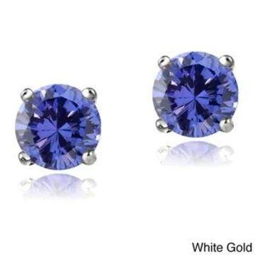Glitzy Rocks 14k White or Yellow Gold 1/2ct TGW Tanzanite Round 4mm Stud Earrings (White)