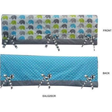Bacati Elephants Crib Rail Guard Cover Aqua/Lime/Grey, Set of 2, Small Side For US Standard Crib, 100 Percent Cotton Percale Fabrics with Polyester Filling Crib