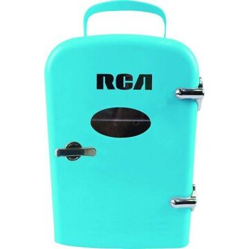 RCA Portable Mini Retro 6 Can Beverage Fridge RMIS129, Blue