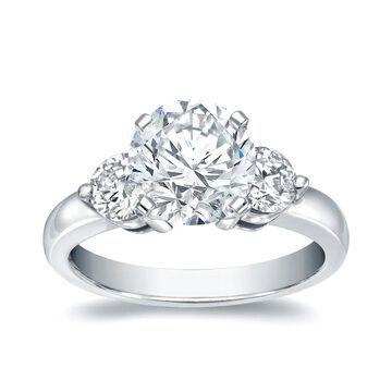 Auriya 14k Gold 2ctw 3-stone Round Diamond Engagement Ring