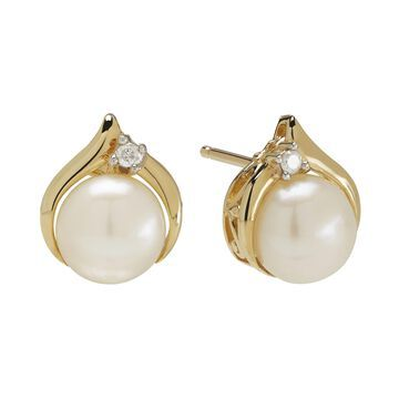 Certified Sofia Cultured Freshwater Pearl & Diamond-Accent 10K Gold Earrings