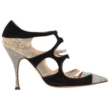 Manolo Blahnik Black Lizard Heels