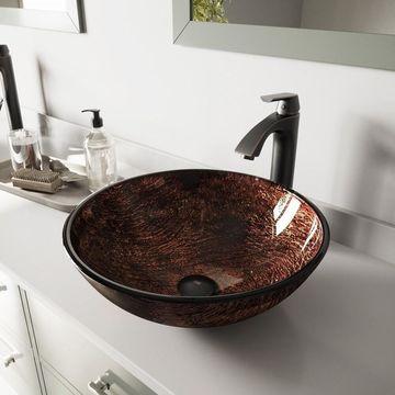 VIGO Kenyan Twilight Glass Vessel Sink and Linus Vessel Faucet Set