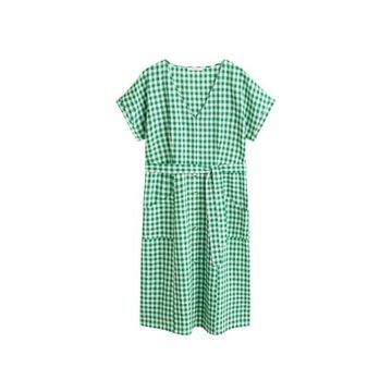 Violeta BY MANGO - Vichy check dress green - 18 - Plus sizes