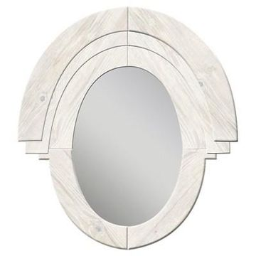 Oval Western Rustic Wood Decorative Wall Mirror White - PTM Images