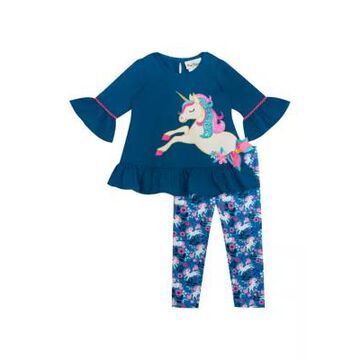 Rare Editions Girls' Toddler Girls Unicorn Ruffle Top With Foil Leggings Set - -