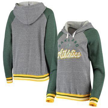 Oakland Athletics 5th & Ocean by New Era Women's Cuff Tri-Blend Raglan Pullover Hoodie Heathered Gray
