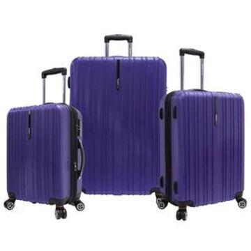 Traveler's Choice Tasmania 3-piece Expandable Spinner Luggage Set (Purple)