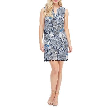 Floral Sleeveless Pompom Trim Shift Dress