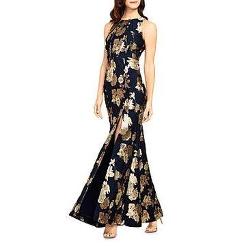 Aidan Mattox Floral Jacquard Mermaid Gown