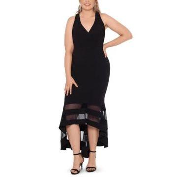 Xscape Plus Size Illusion-Trim Mermaid Gown