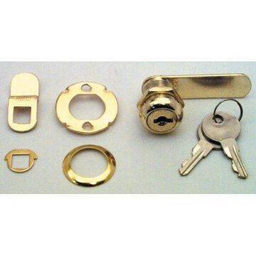 Prime Line Products U9944 Brass Drawer and Cabinet Lock, 7/8