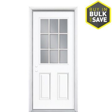 Masonite 36-in x 80-in Steel Half Lite Right-Hand Inswing Primed Prehung Single Front Door with Brickmould in White   740758
