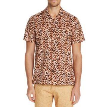 Tallia Men's Slim-Fit Performance Stretch Cheetah Camp Shirt