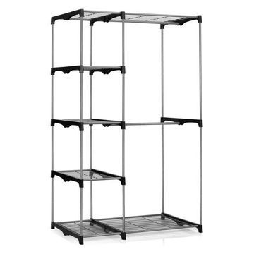 Furinno Wayar Double Rod Freestanding Closet, Grey