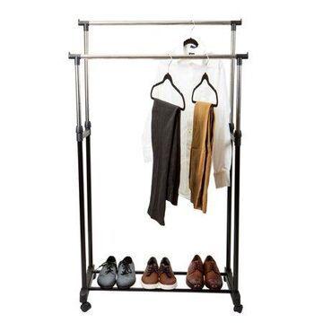 Simplify Double Tier Adjustable Height Rolling Garment Rack