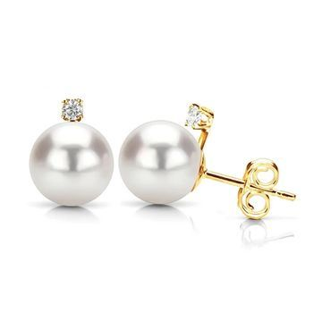 DaVonna 14k Gold with .10tcw Diamond White Akoya Pearl Stud Earrings 7.5-8mm