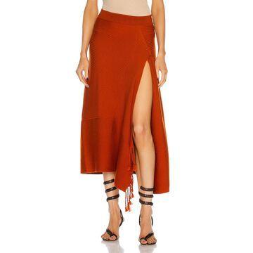 JONATHAN SIMKHAI Grace Fringe Skirt in Caramel | FWRD