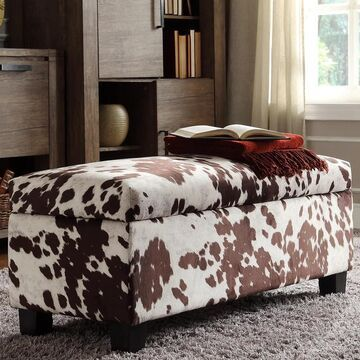 Sauganash Cowhide Print Lift Top Storage Bench by iNSPIRE Q Bold (Brown Cowhide Bench)