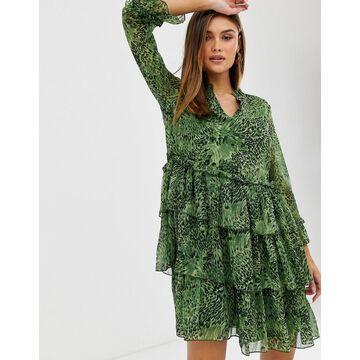 Y.A.S high neck animal print ruffle mini dress