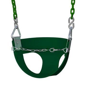 Gorilla Playsets Half Bucket Toddler Swing - Green with Green Chains