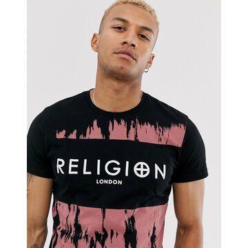 Religion dye print logo t-shirt in black