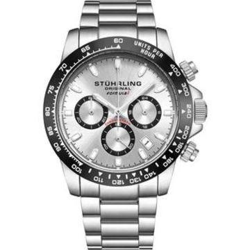 Stuhrling Original Men's Chronograph Watch Japanese Quartz, Water Resistant 100 Meters, Brushed Stainless Steel Bracelet (Silver - Silver)