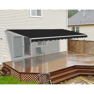 ALEKO Retractable 8X6.5 feet Deck Sunshade Patio Awning Black (Black)