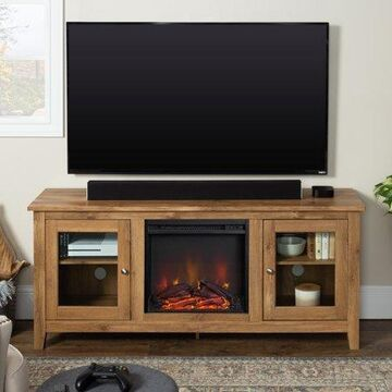 Walker Edison Traditional Fireplace TV Stand with Glass Doors for TV's up to 64