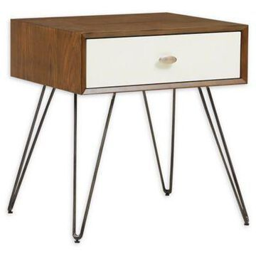 INK+IVY Mia End Table in Brown/White