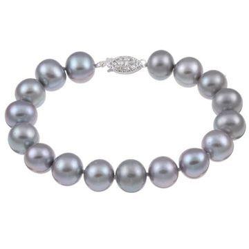 DaVonna Silver Grey FW Pearl 8-inch Bracelet (10-11 mm) (8 Inch - 10-10.5 MM - White - Grey)