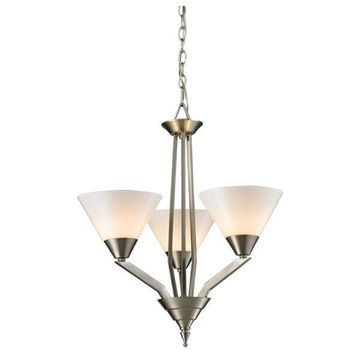 Cornerstone Tribecca 3 Light Chandelier, Brushed Nickel