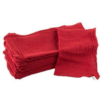 Auto Shop Towels, 100% Cotton Rags, 25 Pack, By Stalwart (Red)